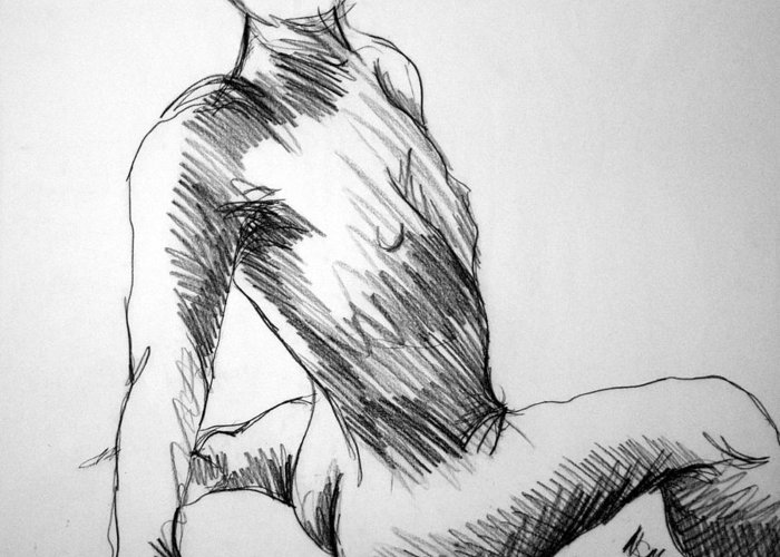 Figure Greeting Card featuring the drawing Figure Drawing 1 by Nancy Mueller