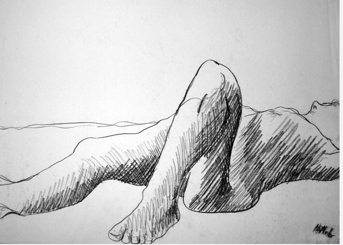 Figure Greeting Card featuring the drawing Figure Drawing 4 by Nancy Mueller