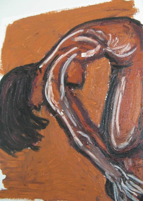 Figure Greeting Card featuring the painting Figure Study by Caroline Lifshey