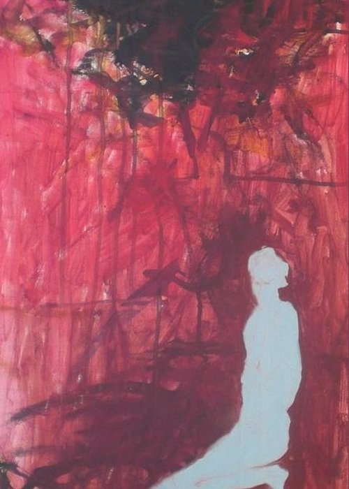 Figure Greeting Card featuring the painting Figure Under Black Cloud by Aleksandra Buha