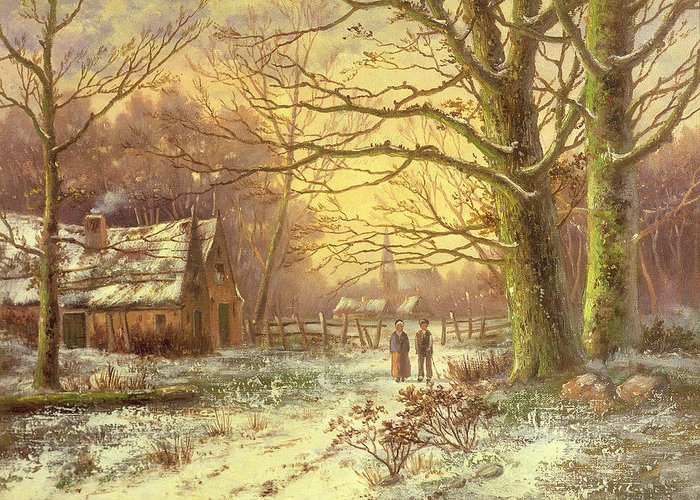 Figures On A Path Before A Village In Winter By Johannes Hermann Barend Koekkoek (1840-1912) Greeting Card featuring the painting Figures On A Path Before A Village In Winter by Johannes Hermann Barend Koekkoek