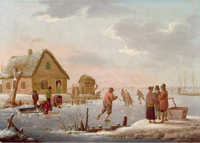 Figures Greeting Card featuring the painting Figures Skating In A Winter Landscape by Hendrik Willem Schweickardt
