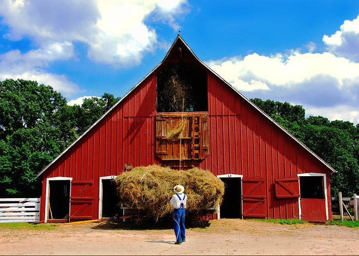 Barn Greeting Card featuring the photograph Filling The Haymow by Lyle Huisken