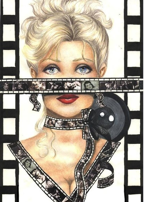 Portrait Greeting Card featuring the drawing Film 1 by Scarlett Royal