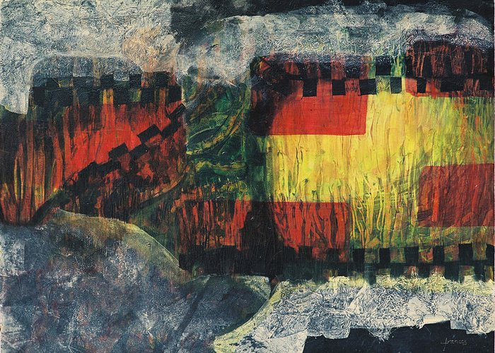 Abstract Film Painting Strange Dream Black And White Painting Yellow Red Earth Contemporary  Greeting Card featuring the painting Film Clip by Frances Bourne