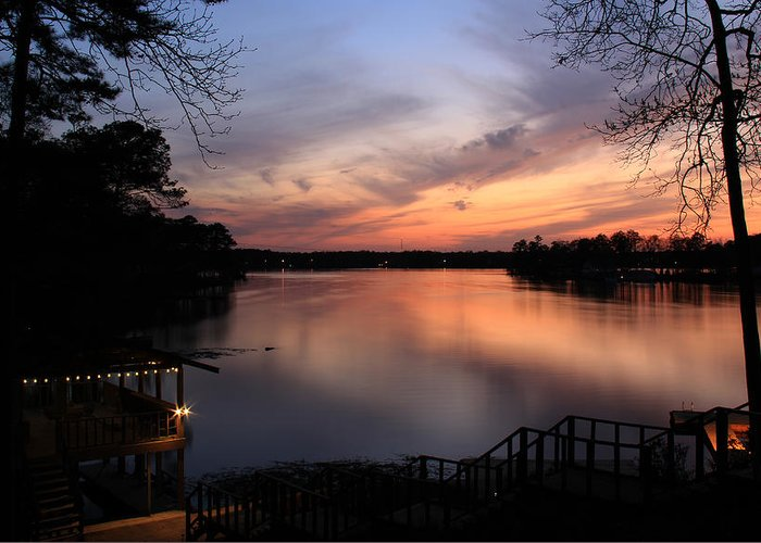 Fin Point Greeting Card featuring the photograph Fin Point Lake Jordan, Al by Leslie Kirk
