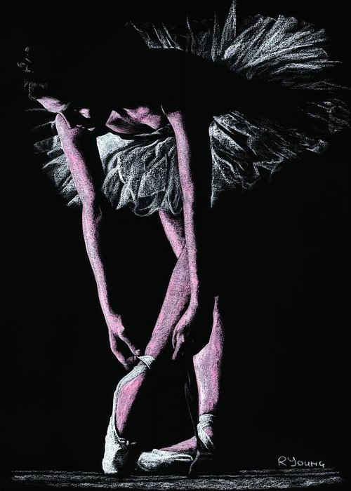 Dancer Greeting Card featuring the pastel Final Adjustments by Richard Young