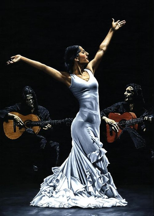 Flamenco Greeting Card featuring the painting Finale Del Funcionamiento Del Flamenco by Richard Young