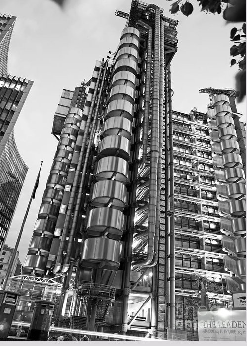 Black And White Greeting Card featuring the photograph Finance The Lloyds Building In The City by Chris Smith