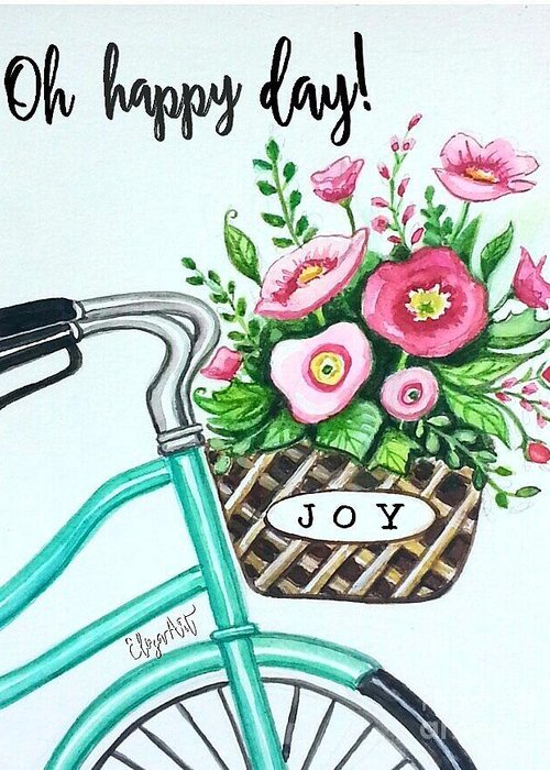 Bicycle Greeting Card featuring the painting Find Your Joy by Elizabeth Robinette Tyndall
