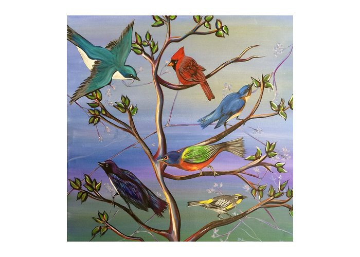 Birds Greeting Card featuring the painting Find Your Song by Emily Morris