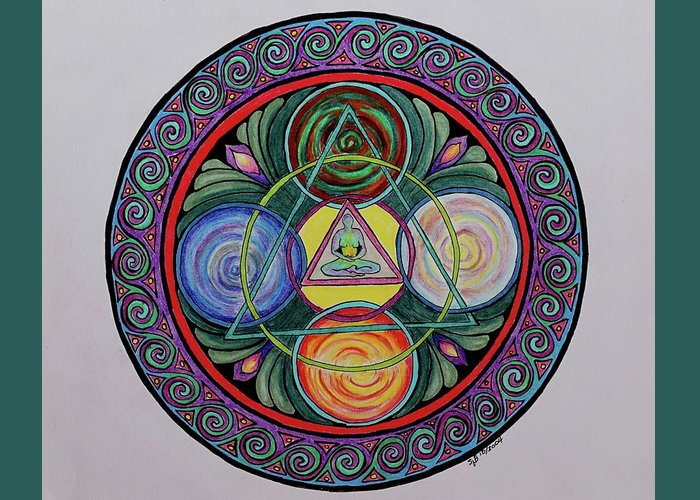 Meditation Greeting Card featuring the drawing Finding Balance by Sandra Borrmann