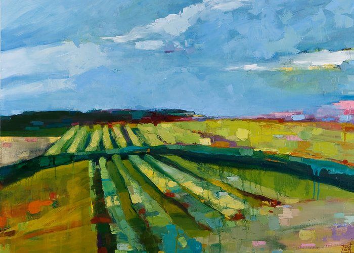 Landscape Greeting Card featuring the painting Fine Fields by Michele Norris