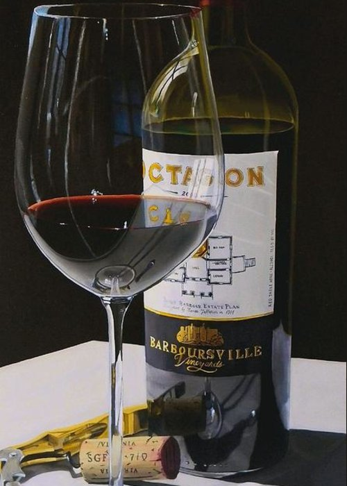 Wine Art Greeting Card featuring the painting Finest Hour by Brien Cole