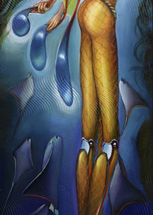 Aquatic Greeting Card featuring the painting Finfaerian Odyssey by Patrick Anthony Pierson