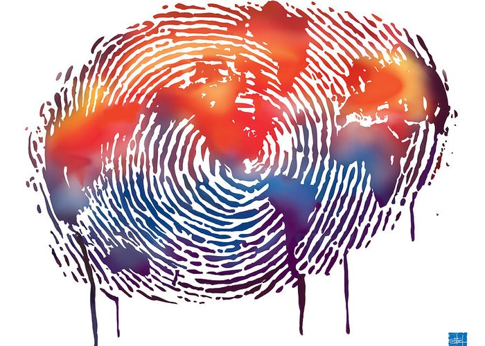 Map Greeting Card featuring the painting Finger Print Map Of The World by Sassan Filsoof