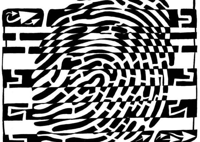 Fingerprint Greeting Card featuring the drawing Fingerprint Scanner Maze by Yonatan Frimer Maze Artist
