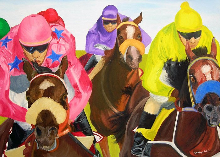 Horse Racing Greeting Card featuring the painting Finish Line by Michael Lee