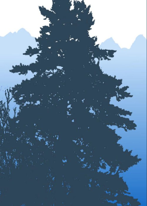 Fir Greeting Card featuring the digital art Fir At Dusk by Robert Bissett