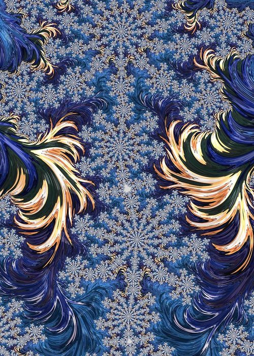 Fractal Greeting Card featuring the digital art Fire And Ice by Angela Haley