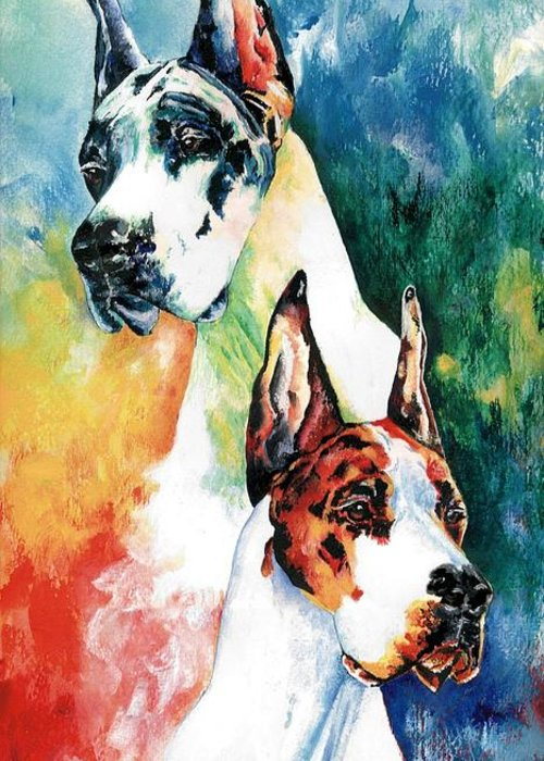Great Dane Greeting Card featuring the painting Fire And Ice by Kathleen Sepulveda
