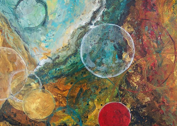 Abstract Greeting Card featuring the painting Fire And Ice by Laura Swink