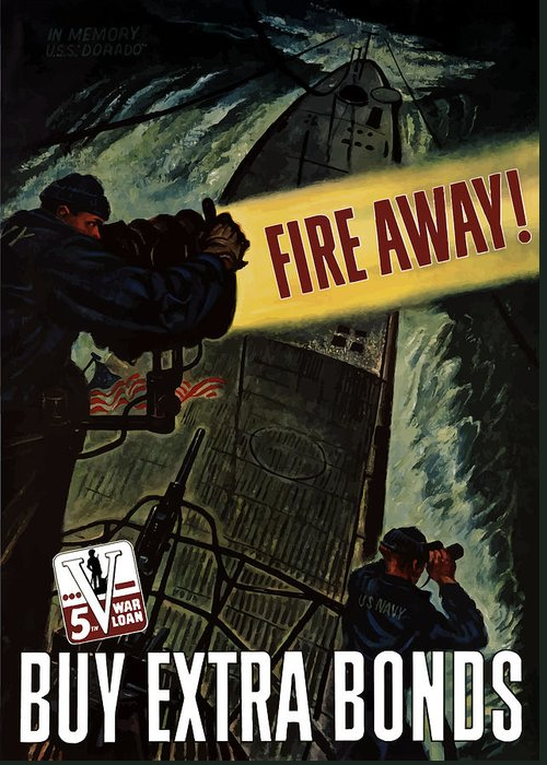 Navy Greeting Card featuring the painting Fire Away by War Is Hell Store