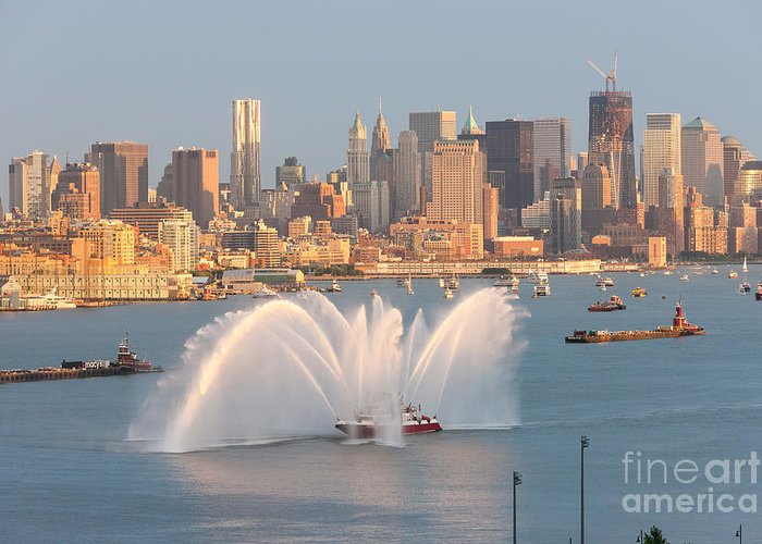 Clarence Holmes Greeting Card featuring the photograph Fire Boat And Manhattan Skyline Iv by Clarence Holmes