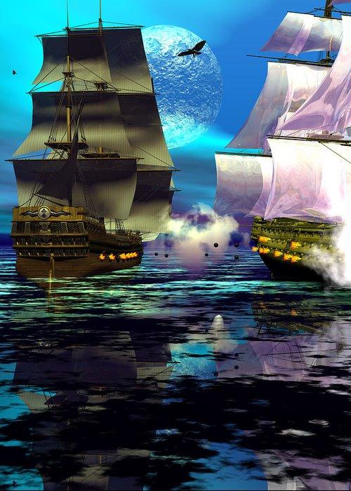 Bryce 3d Scifi Fantasy Battle \tall Ship\ Sailing Windjammer \sailing Ship\ Sailing Greeting Card featuring the digital art Fire by Claude McCoy