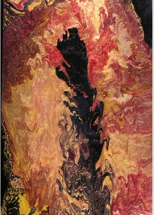 Abstract Greeting Card featuring the painting Fire - Elemental Spirit by Patrick Mock