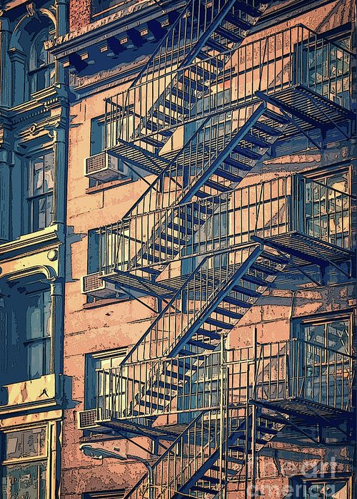 New York Greeting Card featuring the drawing Fire Escape by Delphimages Photo Creations