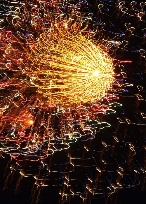 Fireworks Greeting Card featuring the photograph Fire Flower by Karen Wiles