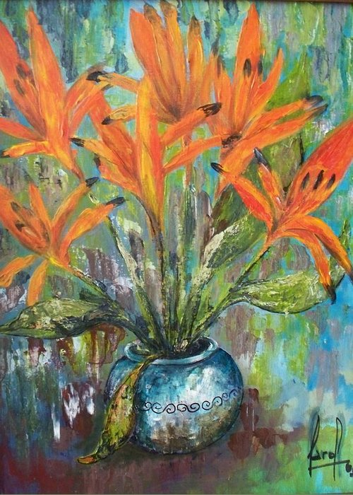 Greeting Card featuring the painting Fire Flowers by Carol P Kingsley