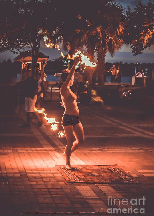 Florida Greeting Card featuring the photograph Fire Girl by Claudia M Photography