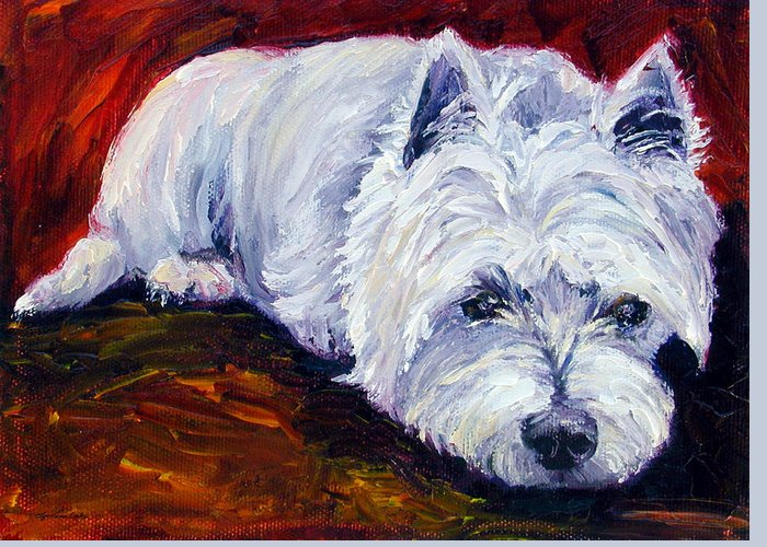 West Highland White Terrier Greeting Card featuring the painting Fire Glow - West Highland White Terrier by Lyn Cook