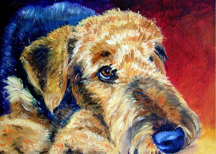 Airedale Terrier Greeting Card featuring the painting Fire Glow by Lyn Cook