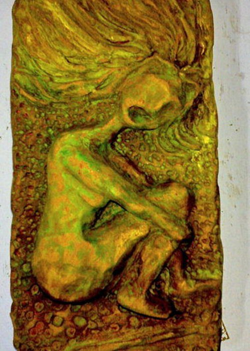 Clay Greeting Card featuring the relief Fire Head by Lorna Diwata Fernandez