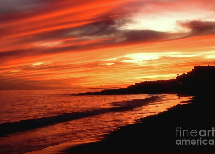 Summer Greeting Card featuring the photograph Fire In Sky by Joann Vitali