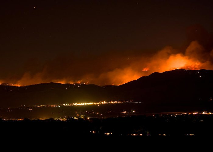 4 Mile Canyon Fire Greeting Card featuring the photograph Fire In The Mountains No Lightning In The Air by James BO Insogna