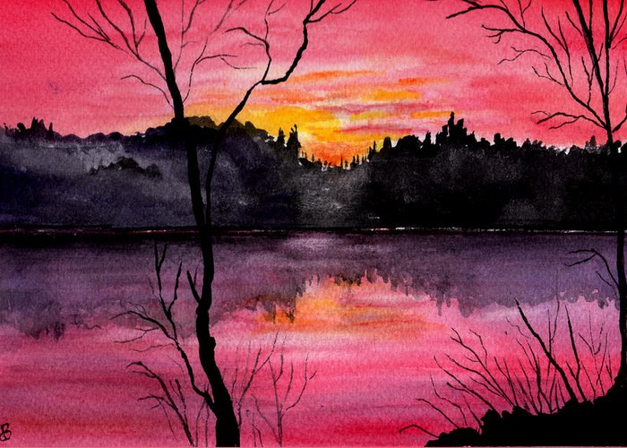 Landscape Greeting Card featuring the painting Fire In The Sky  Lake Arrowhead Maine by Brenda Owen