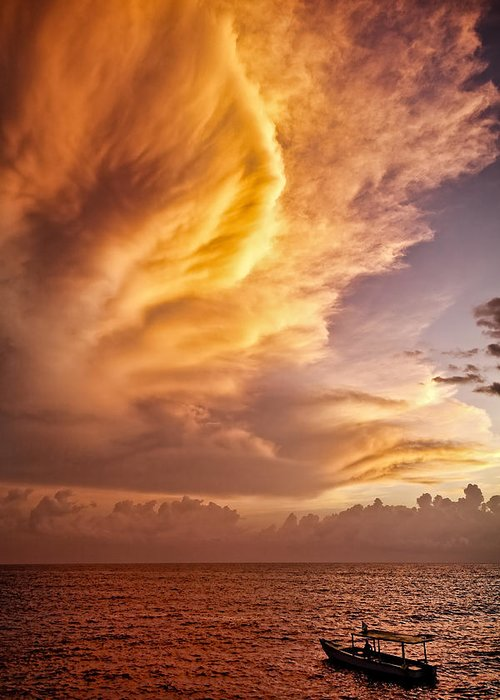 Jamaica Greeting Card featuring the photograph Fire In The Sky by Dave Bowman