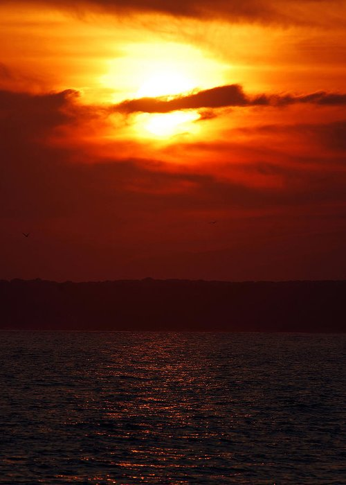 Sunset Greeting Card featuring the photograph Fire in the Sky by Mark Wiley
