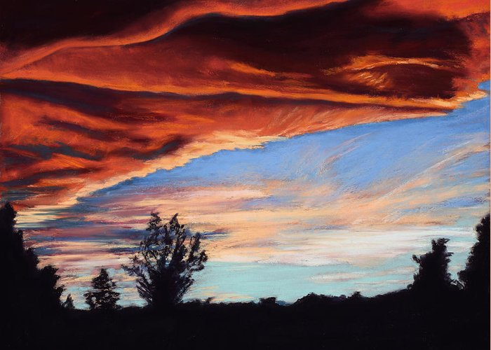 Sunset Greeting Card featuring the painting Fire In The Sky by Mary Benke