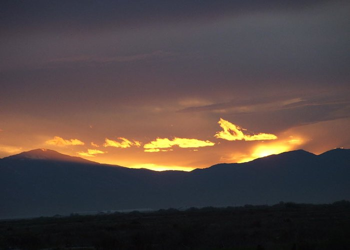 Sunset Greeting Card featuring the photograph Fire In The Sky by Shari Chavira