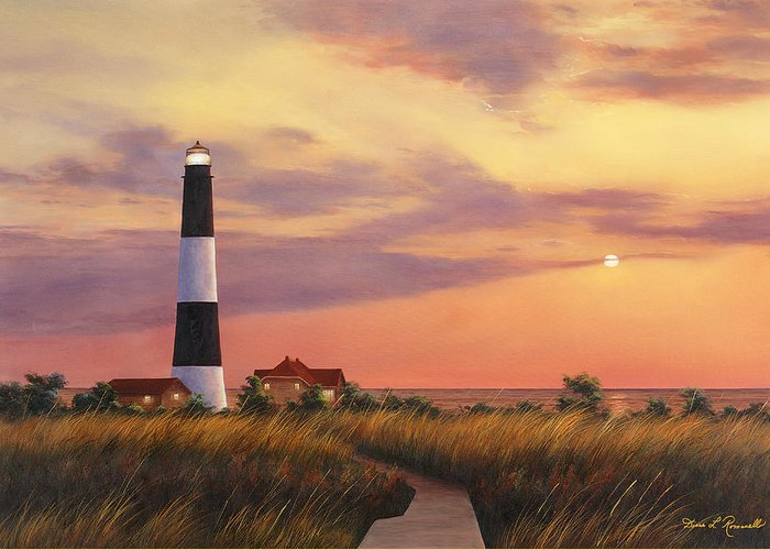 Lighthouse Greeting Card featuring the painting Fire Island Lighthouse by Diane Romanello