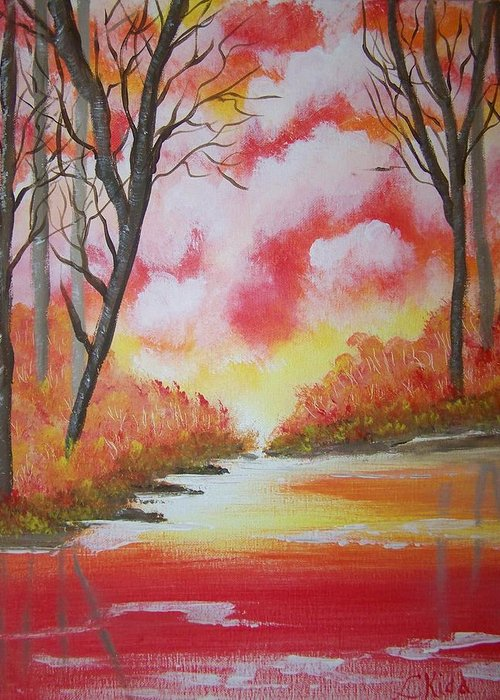 Lake Greeting Card featuring the painting Fire Of God by Laurie Kidd