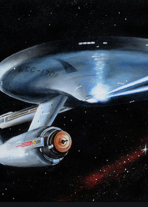 Star Trek Greeting Card featuring the painting Fire Phasers by Kim Lockman