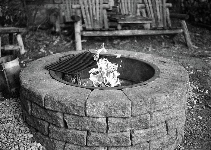 Fire Greeting Card featuring the photograph Fire-pit by Megan Greenfeld