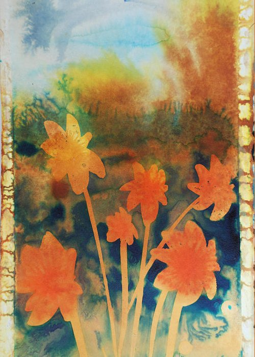 Flowers Bright Free Loose Blue Yellow Green Red Orange Greeting Card featuring the painting Fire Storm In The Wild Flower Meadow by Amy Bernays