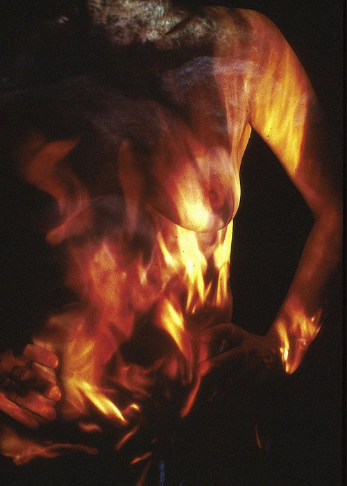 Nature Fusion Greeting Card featuring the photograph Fire Two by Arla Patch